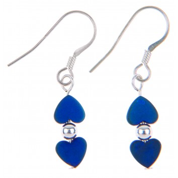 Carrie Elspeth Denim Frosted Kissing Hearts Earrings