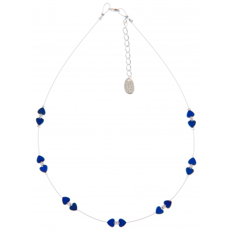 Carrie Elspeth Denim Frosted Kissing Hearts Necklace