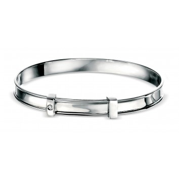 D for Diamond Silver Diamond Plain Bangle - Boys