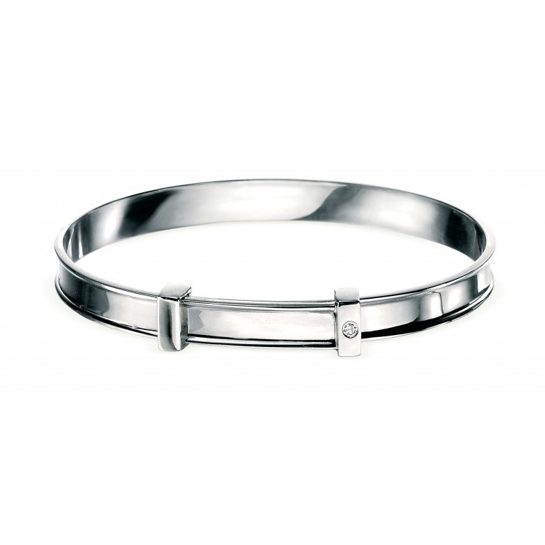 D for Diamond Children's Plain Baby Christening Classic Bangle