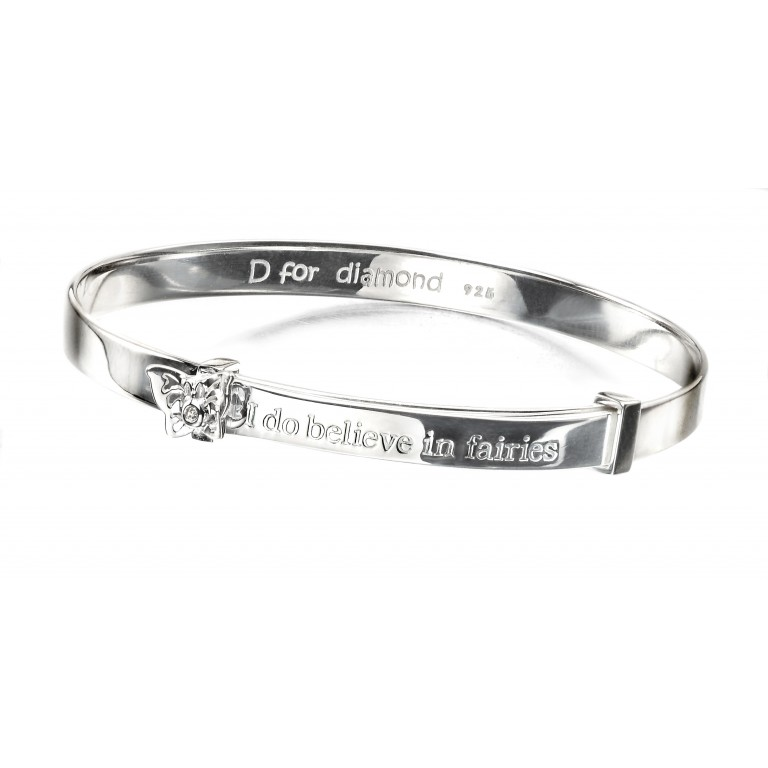D for Diamond Believe in Fairies Expandable Bangle
