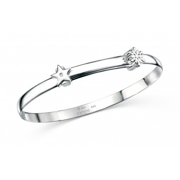 D for Diamond Snowflake Christening Bangle