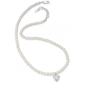 D for Diamond Freshwater Pearl Necklace with Filigree Heart Locket