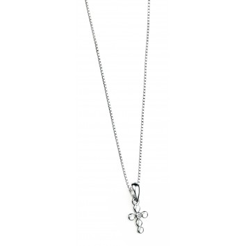 D for Diamond Silver Cross Christening Classic Pendant