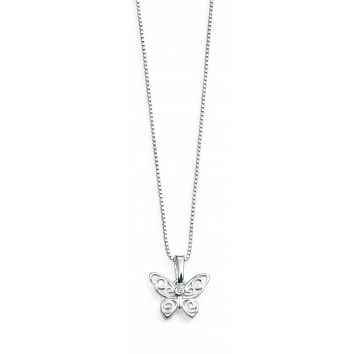D for Diamond Filigree Butterfly Pendant