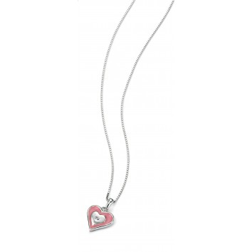 D for Diamond Pink Heart Pendant