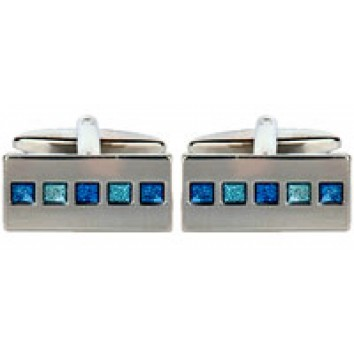 Dalaco Two Tone Blue Oblong Cufflinks
