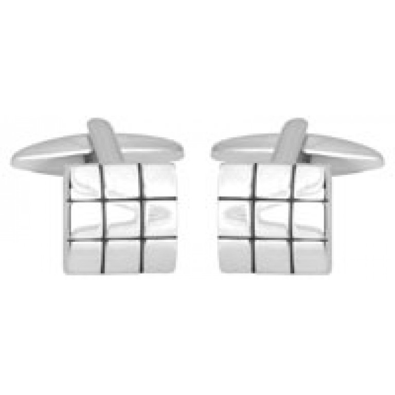 Dalaco Shiny Square & Black Line Cufflinks