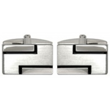 Dalaco Brushed/Polished with Black Lines Cufflinks