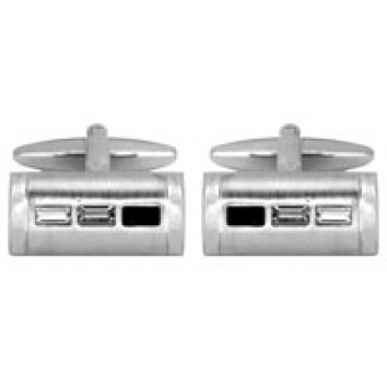 Dalaco Rectangular Black/Grey/White Crystal Cufflinks