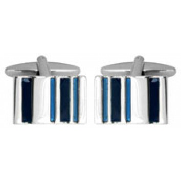 Dalaco Rectangular Two Tone Blue Striped Cufflinks