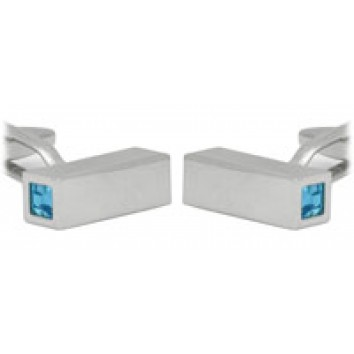 Dalaco Square Tube Blue Crystal Cufflinks
