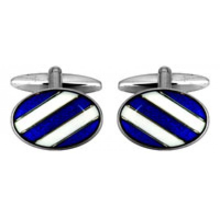 Dalaco Rectangular Brushed 3 Blue Crystals Cufflinks