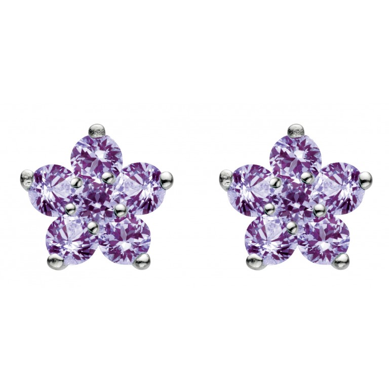 Dew St Lavender Flower Stud Earrings
