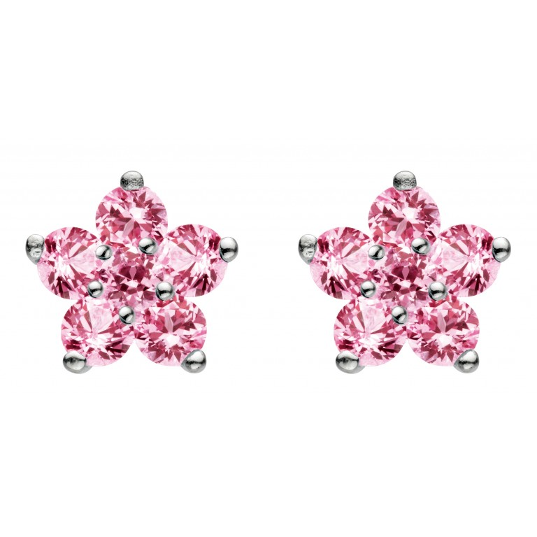 Dew St Pink Flower Stud Earrings