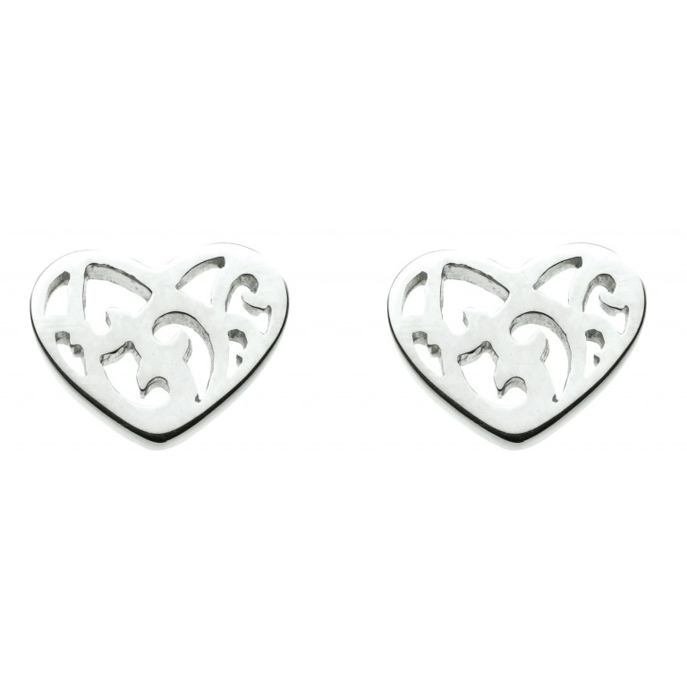 Dew St Stud Swirly Cut Out Heart