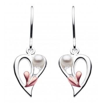 Dew Dr Rose Gold Plated Coiled Leaf Heart With Pearl Drop Earrings