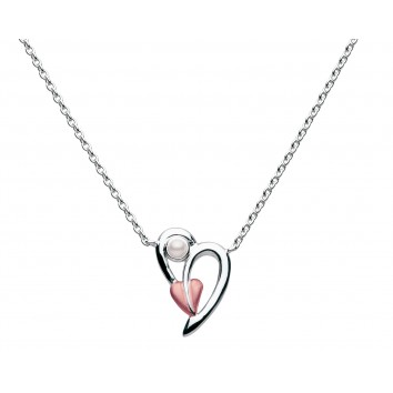 Dew Dr Coiled Leaf Rose Gold Plated Heart With Pearl