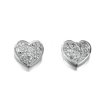 Elements Pave Heart Stud Earrings