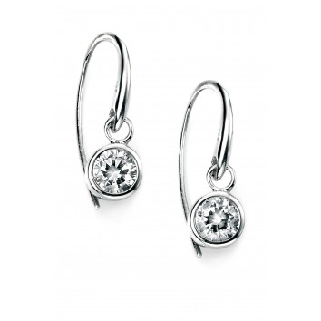 Rhodium Plated Round Clear CZ Hook Earrings
