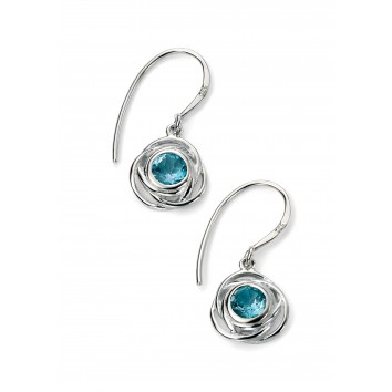 Rhodium Plated Rose Shape Earrings with Blue Topaz