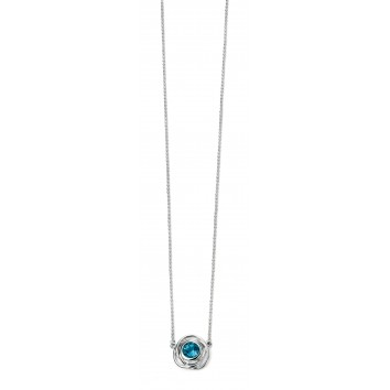 Rhodium Plated Rose Shape Necklace with Blue Topaz