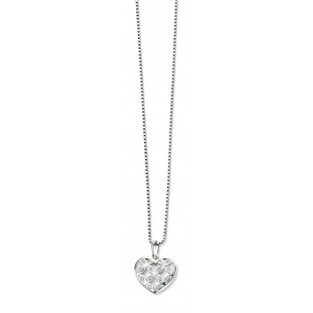 Elements Large Pattern Heart CZ Pendant
