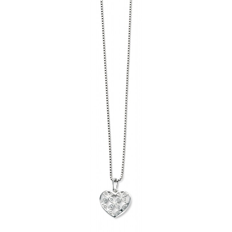 Rhodium Plated Large Pattern Heart CZ Pendant