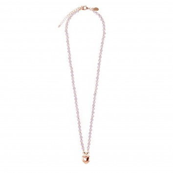 Joma Jewellery Zara Necklace - Pink Crystal & Rose Gold Ball with Rose Gold Heart