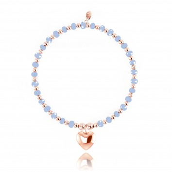 Joma Jewellery Zara Bracelet - Blue Crystal & Rose Gold Ball with Rose Gold Heart