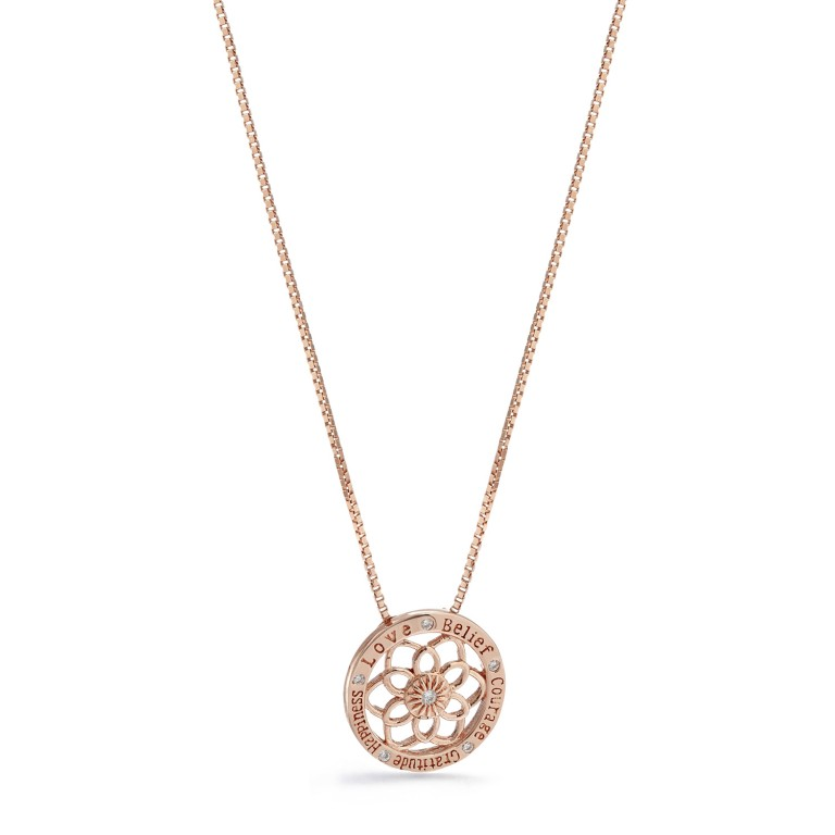 Synergy Jewellery Zen Flower Necklace Rose Gold